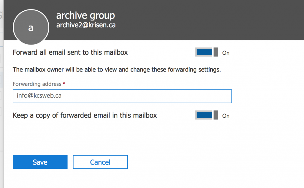 shared mailbox allows forwarding of 1 email address
