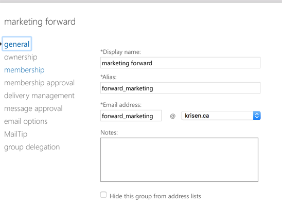 O365 distribution list with email address